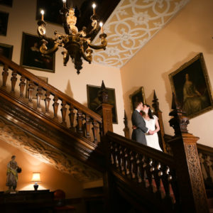 Wedding photo on the staircase
